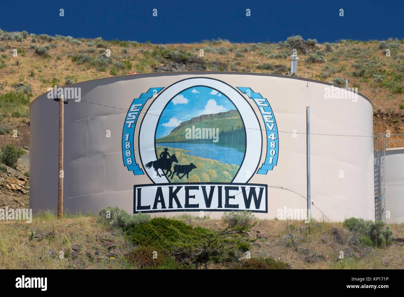 Mural, Lakeview, Lake County Fairgrounds, Oregon Outback Scenic Byway, Oregon. - Stock Image