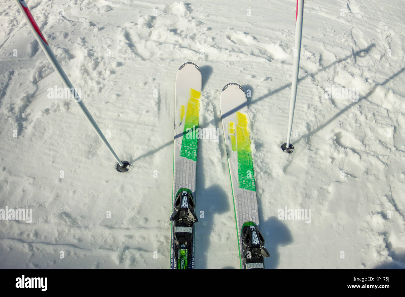 Skier first-person view of the ski snow slope. - Stock Image