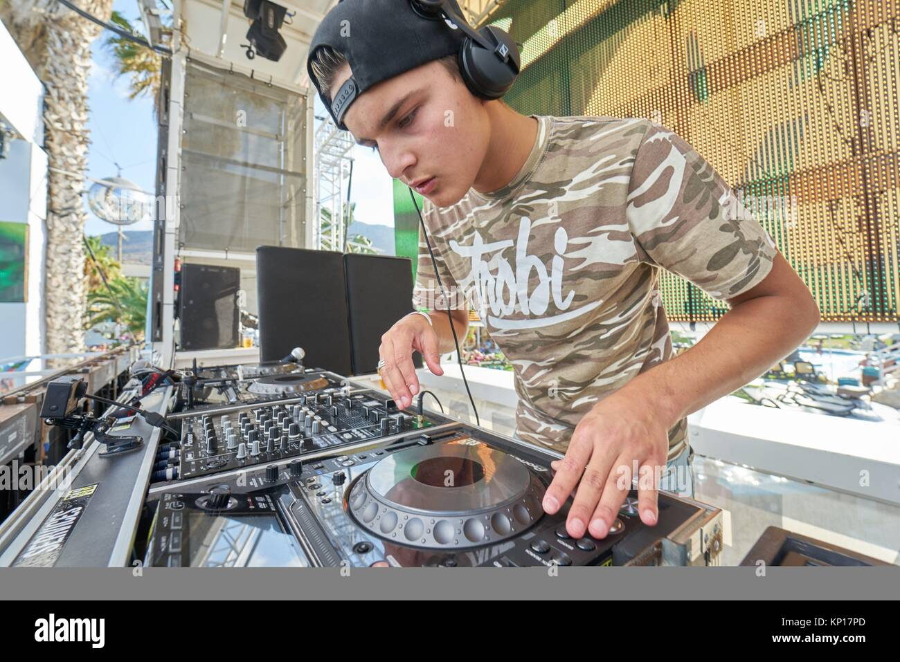 DJ Trobi playing at music festival Starbeach on 18. August 2017, in Hersonissos, Crete, Greece - Stock Image