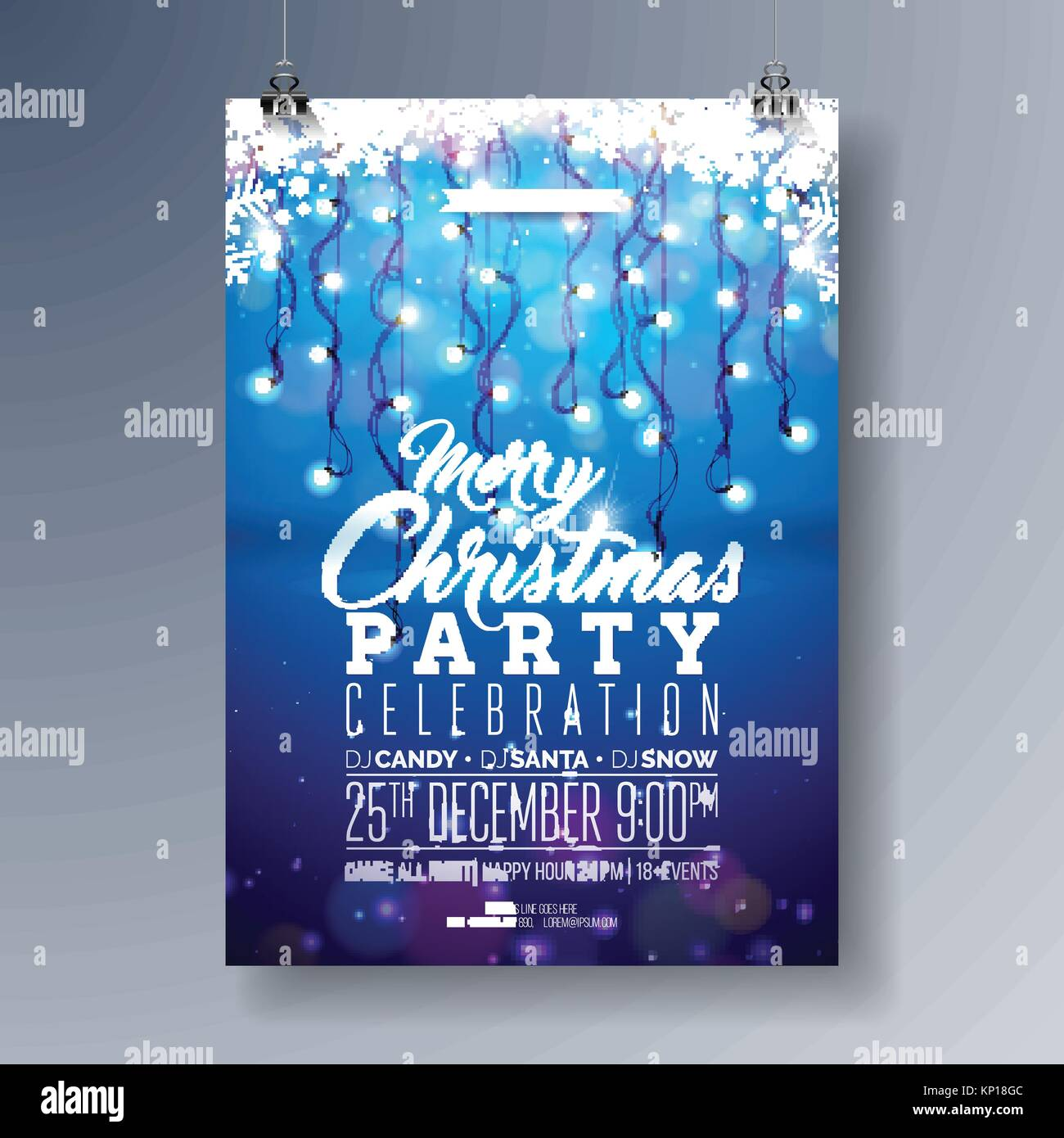 vector merry christmas party flyer design with holiday typography stock vector art illustration vector image 168444428 alamy