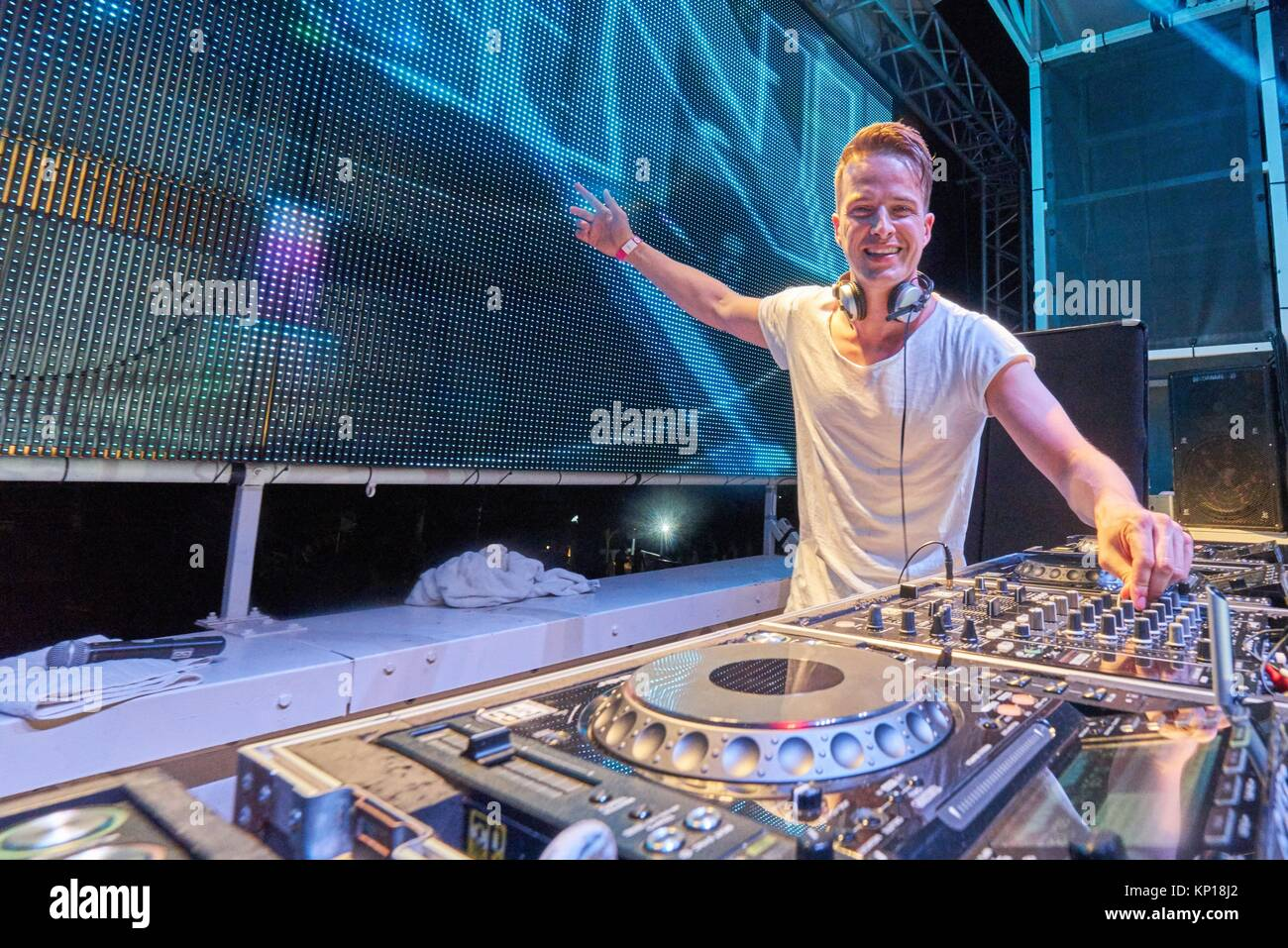 DJ Dannic at music festival Starbeach on 14. August 2017 in Hersonissos, Crete, Greece - Stock Image