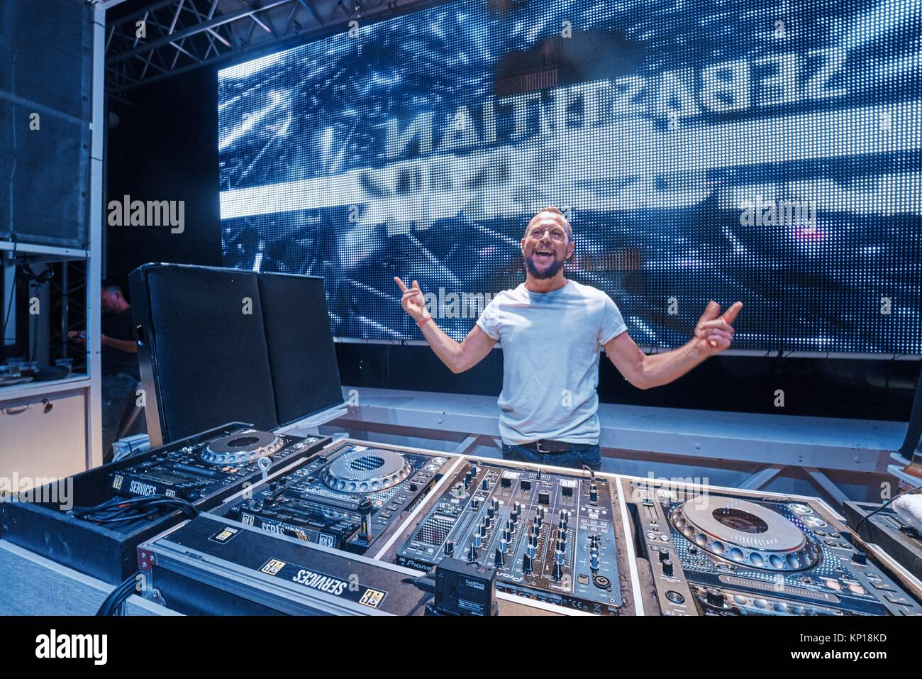 DJ Sebastian Bronk at music festival Starbeach Lovestar Neon in Hersonissos, Crete, Greece, on 23. August 2017 Stock Photo