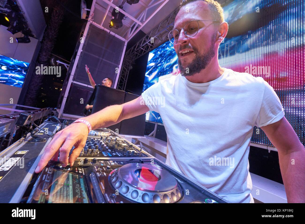 DJ Sebastian Bronk at music festival Starbeach Lovestar Neon in Hersonissos, Crete, Greece, on 23. August 2017 - Stock Image