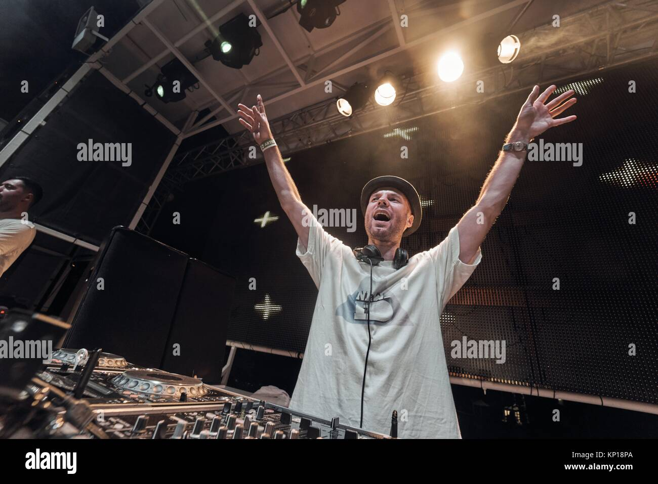 DJ New ID performing at edm music festival Starbeach in Hersonissos, Crete, Greece, on 21. August 2017 - Stock Image