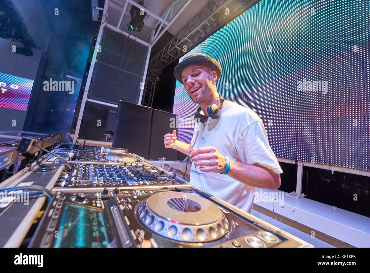 DJ New ID at edm music festival Starbeach in Hersonissos, Crete, Greece, on 21. August 2017 - Stock Image