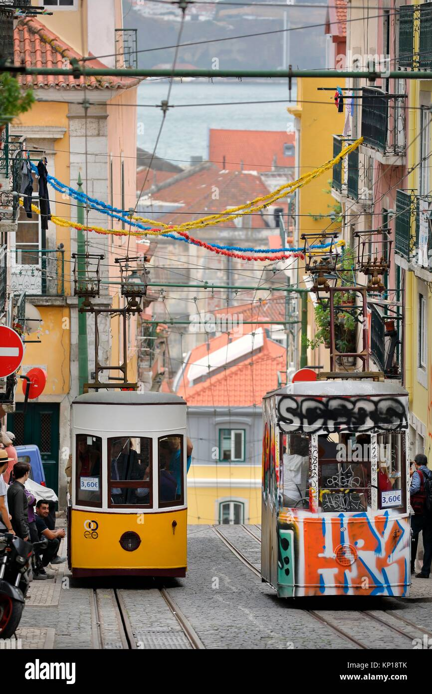 funicular elevador Da Bica yellow and tag painted funiculars Lisbon Portugal. - Stock Image