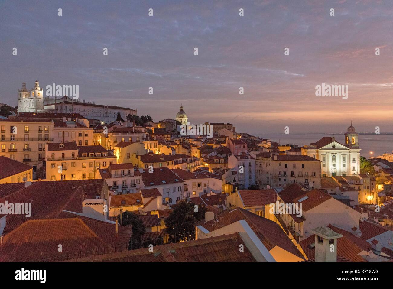 Alfama district night Santa Lucia mirador Lisbon Portugal. - Stock Image