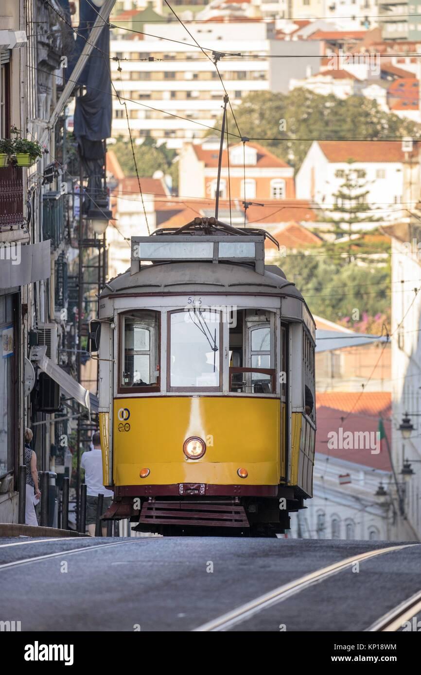 yellow vintage streetcar tramway Bairo Alto Lisbon Portugal. - Stock Image