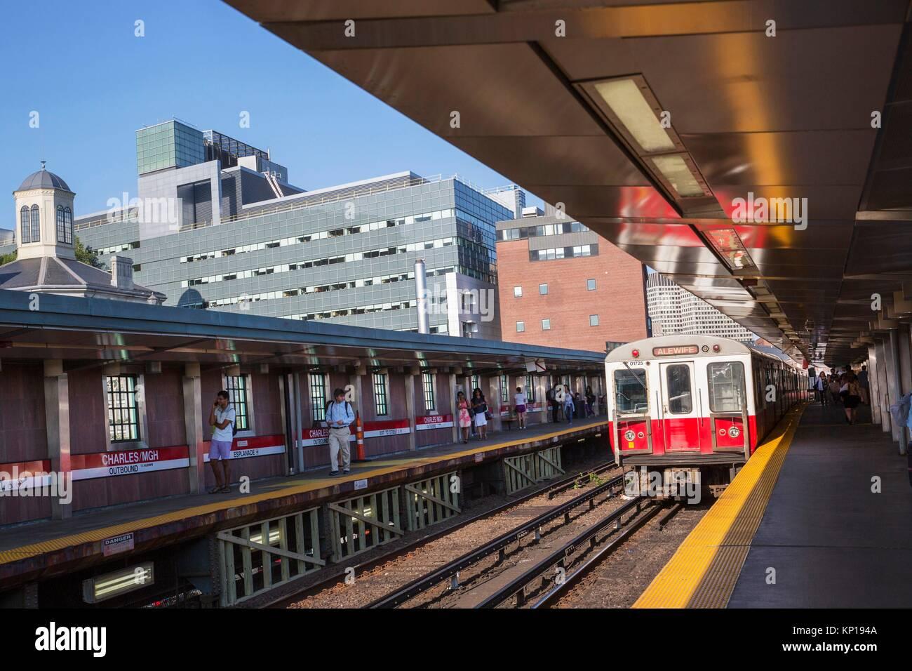 Boston subway T red line mbta Charles / MGH station Boston