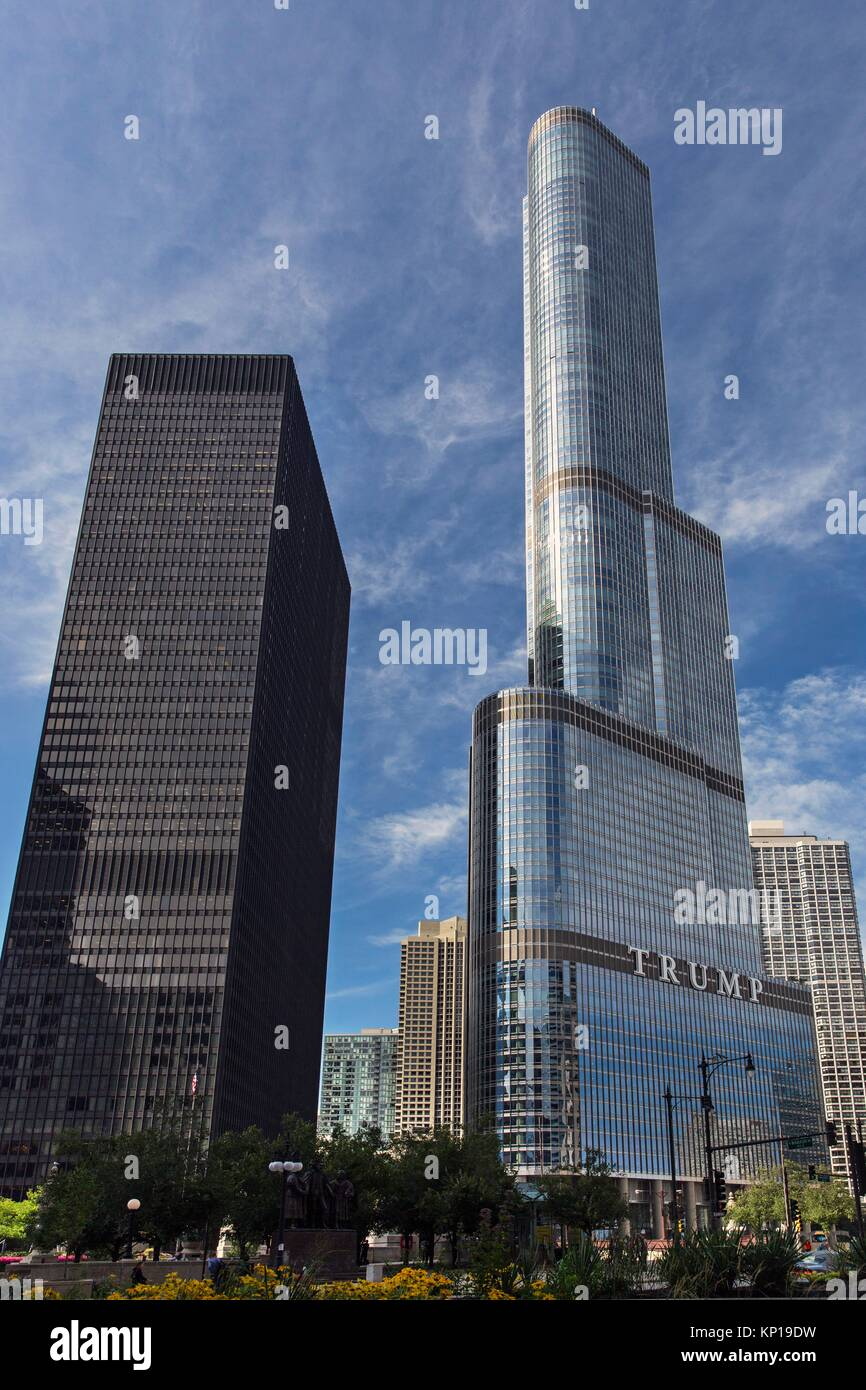 Trump tower hotel and IBM tower. - Stock Image