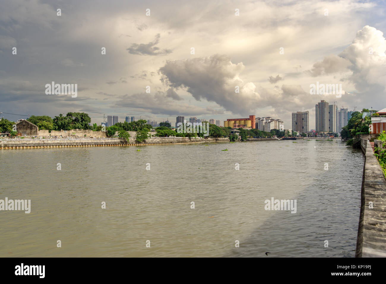 Cloudy sky at Pasig river, Manila.Philippines - Stock Image
