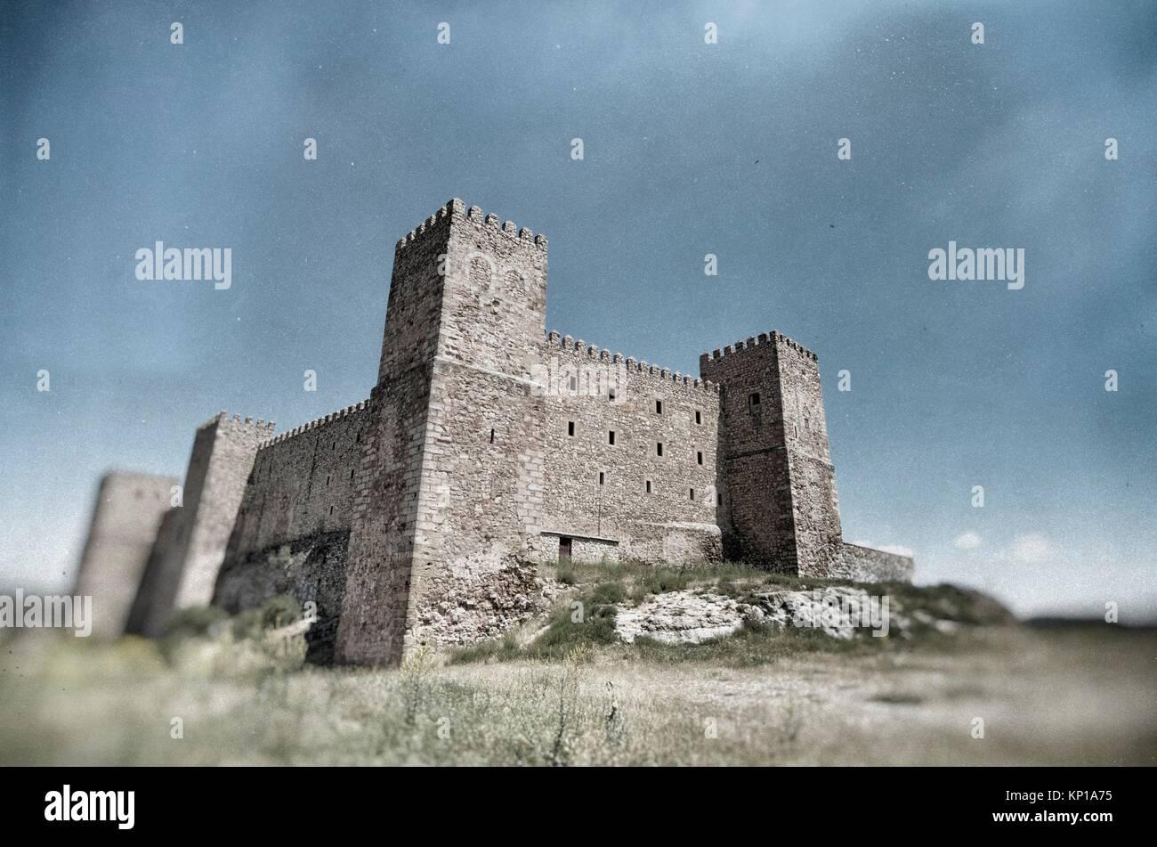 Siguenza Castle, of Arab origin was built in the 12th century is now Parador Nacional de Turismo, Guadalajara, Castilla - Stock Image