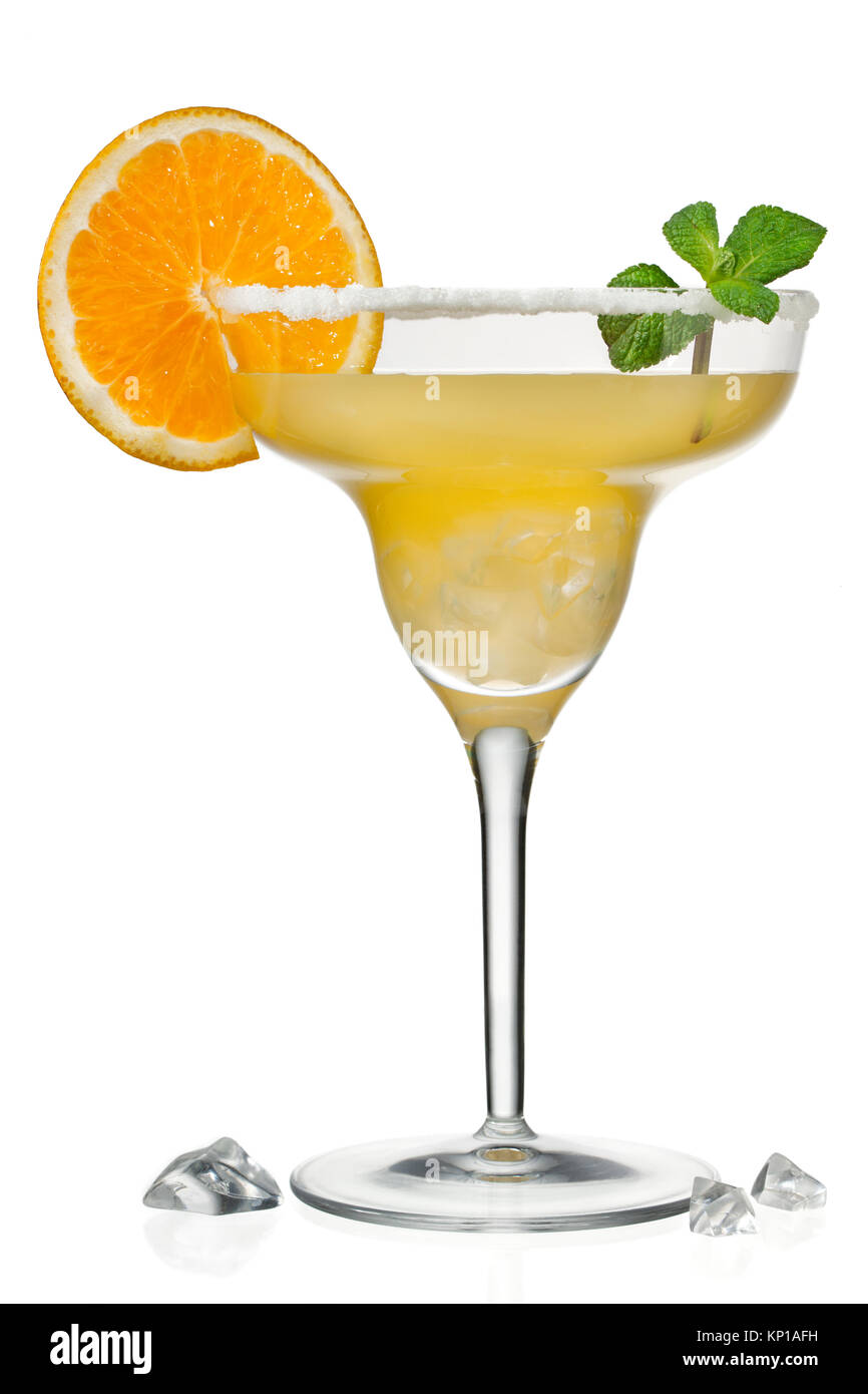 orange juice in martini glass - Stock Image