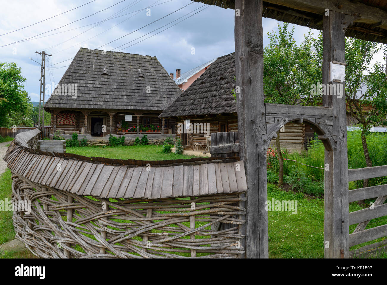 The private ethnographic museum in the courtyard of the Pleş family. Ieud, Maramures, Romania. - Stock Image