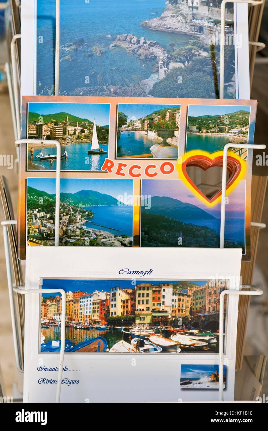 Postcards, Recco, Liguria, Italy - Stock Image