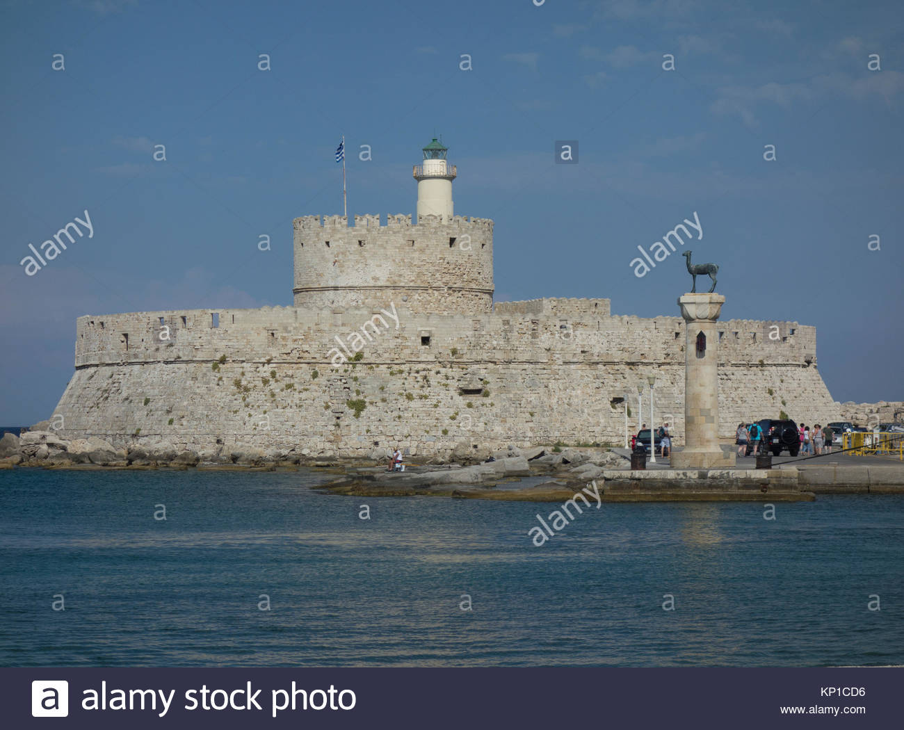 Europe, Greece, Rhodes Island, View Of The Fortifications Of The Town Of Rhodes Are Shaped Like A Defensive Crescent Stock Photo