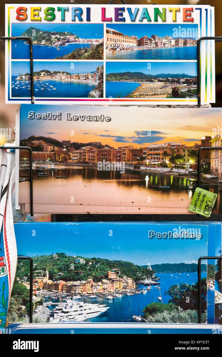 Postcards of Sestri Levante, Liguria, Italy - Stock Image