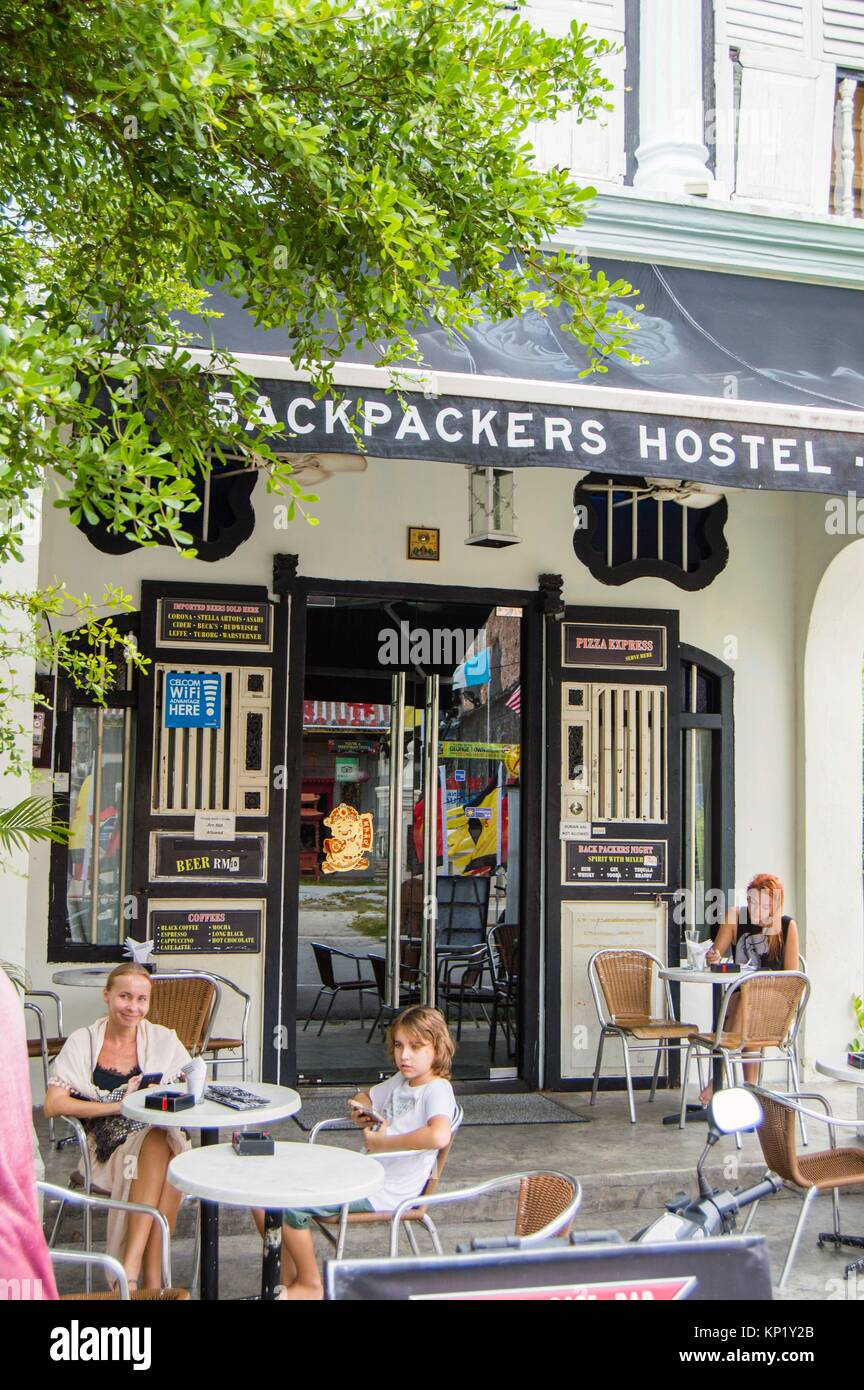Backpackers Hostel, Love Lane, Georgetown, Penang, Malaysia - Stock Image