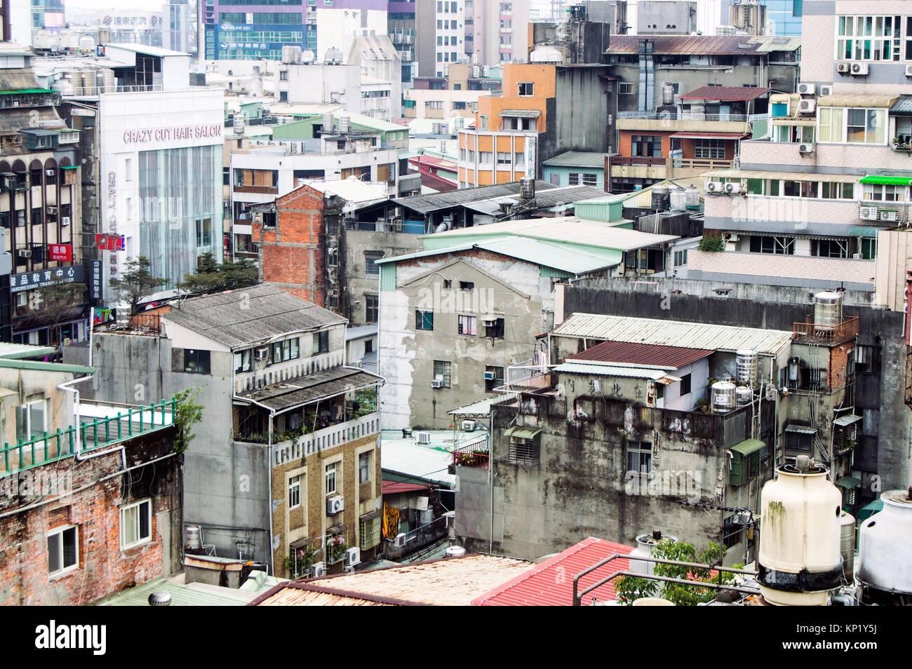 Aerial view, Urban sprawl, Ximending, Taipei, Taiwan - Stock Image
