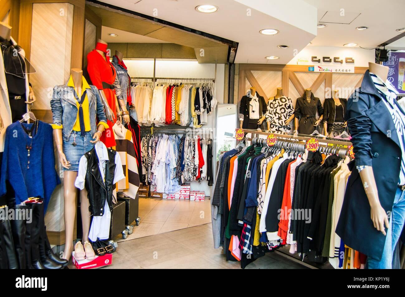 Fashion boutique interior, Ximending, Taipei, Taiwan - Stock Image