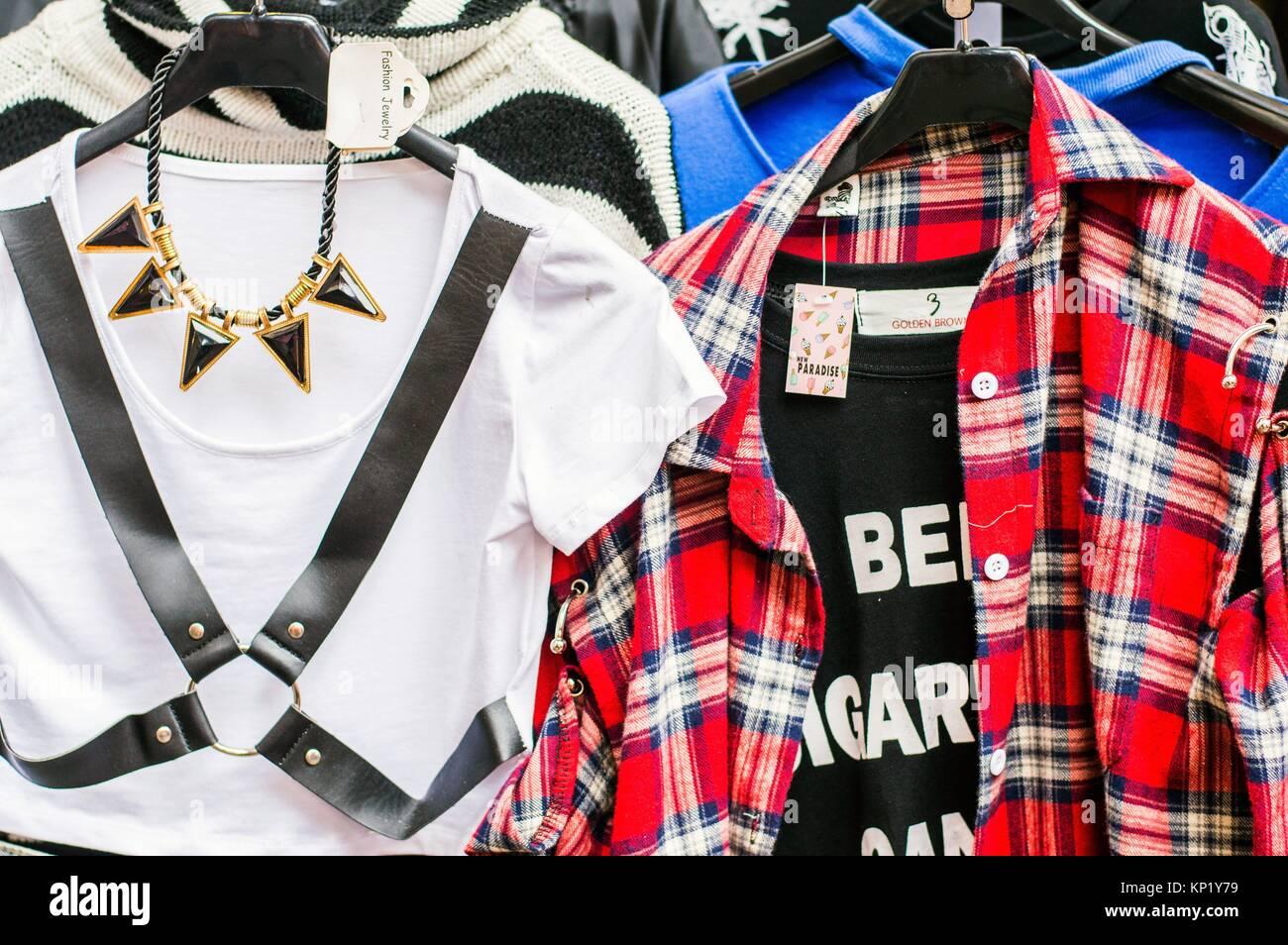 Women´s fashion items on display outside boutique, Ximending, Taipei, Taiwan - Stock Image