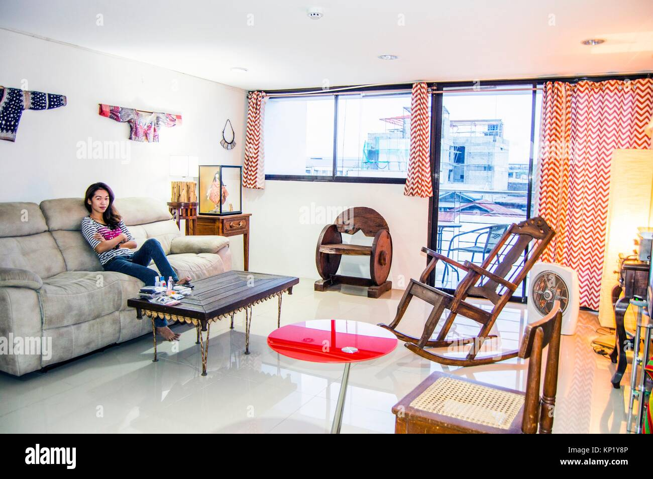 Apartment Living Room Interior With Modern And Antique Furniture In  Downtown Cebu City, Philippines