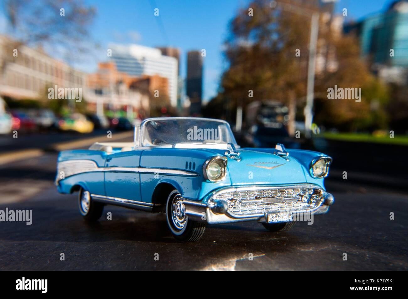 Model 1957 Chevrolet Bel Air sedan car on location in Melbourne, Australia - Stock Image
