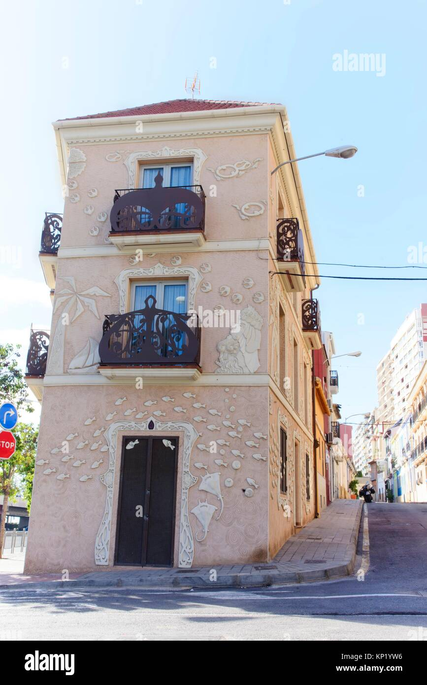 Controversial facade of the toy house or fish house in the Raval Roig neighborhood, Alicante, Valencia, Spain Stock Photo