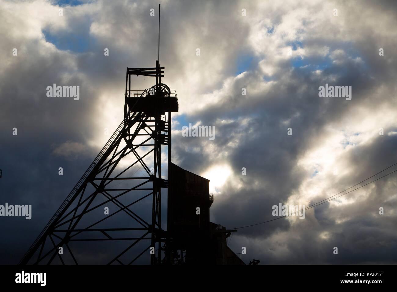Anselmo Mine Headframe (Gallows), Butte, Montana. - Stock Image