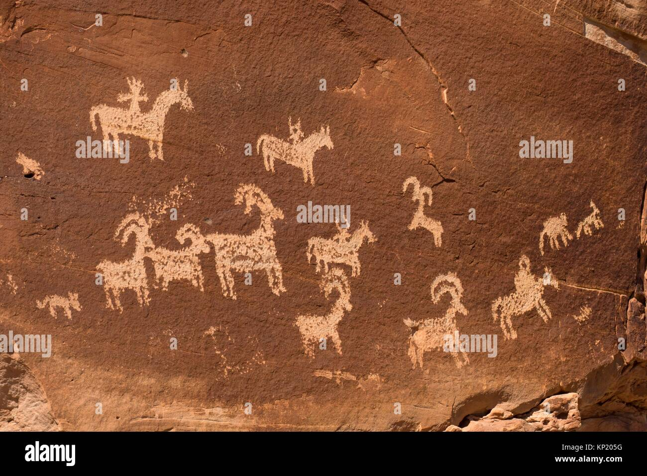 Petroglyphs at Wolfe Ranch, Arches National Park, Utah. - Stock Image