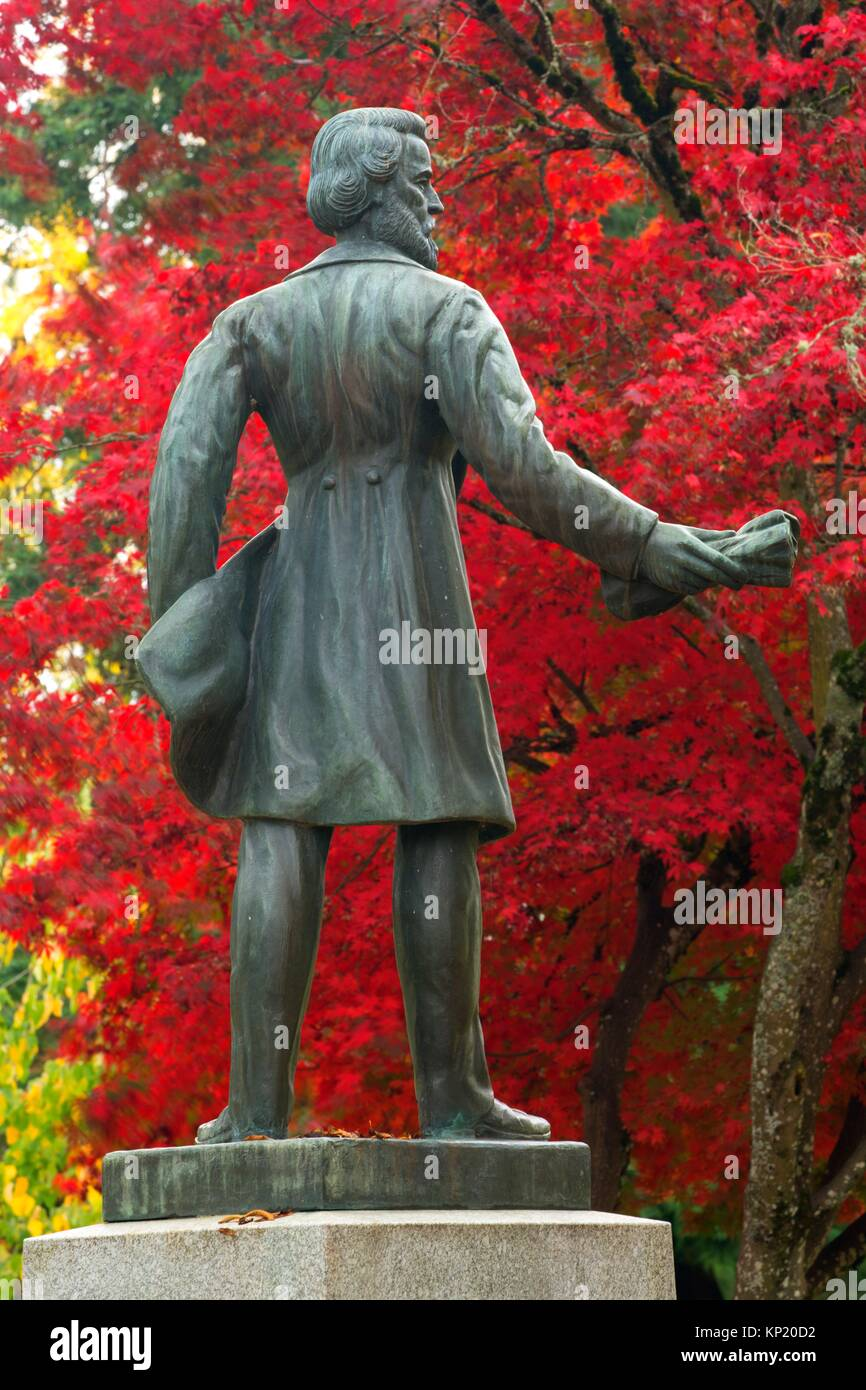 Rev. Jason Lee statue, State Capitol State Park, Salem, Oregon. - Stock Image