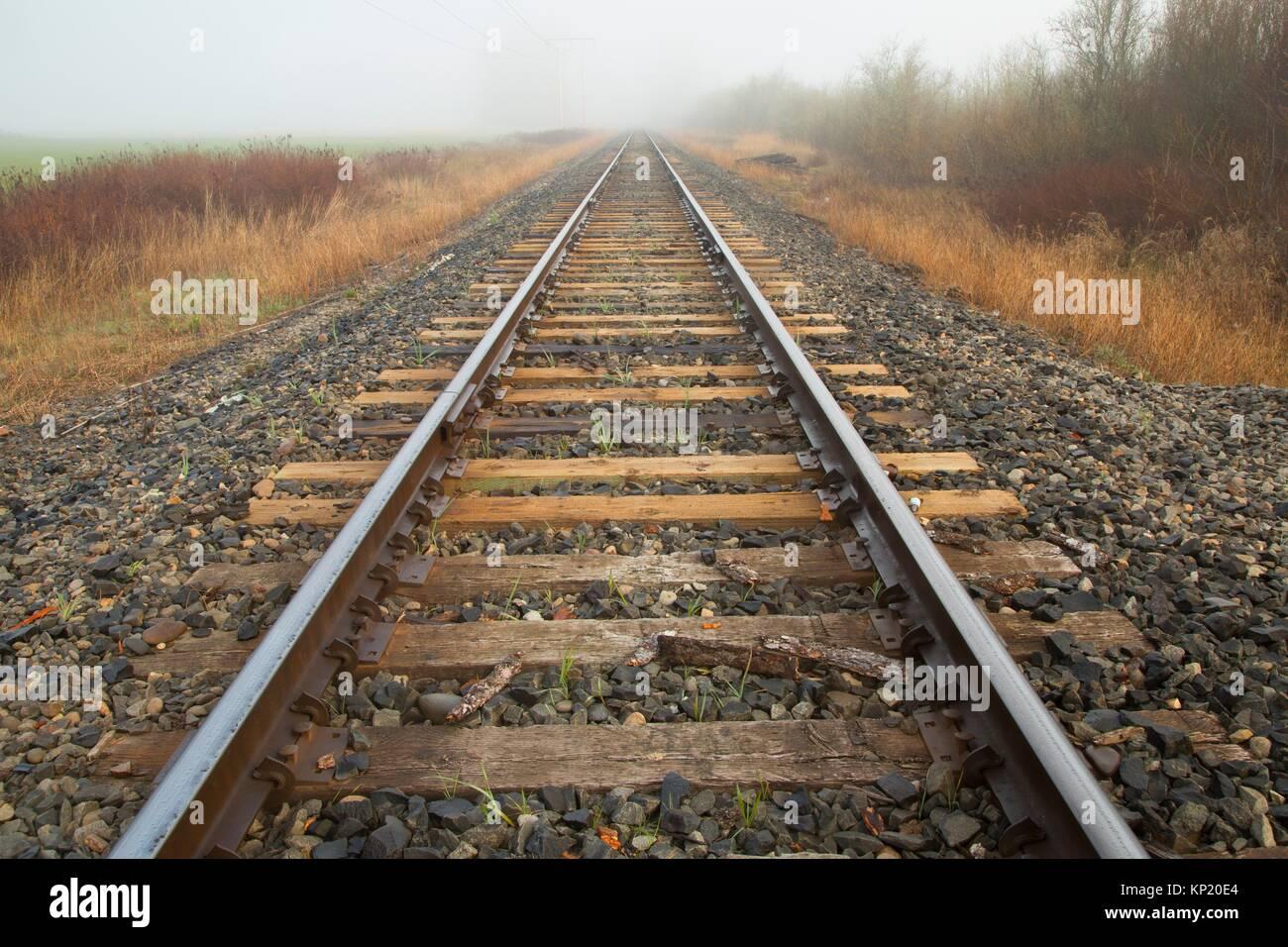 Railroad track, Ankeny National Wildlife Refuge, Oregon. - Stock Image