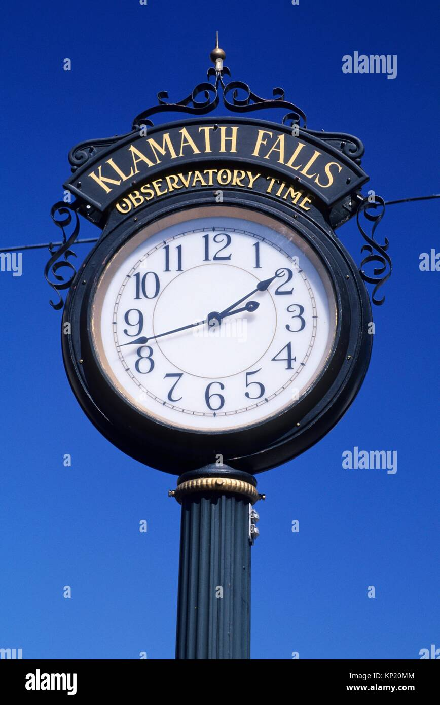 Klamath Falls Observatory Time clock, Klamath Falls, Oregon. Stock Photo