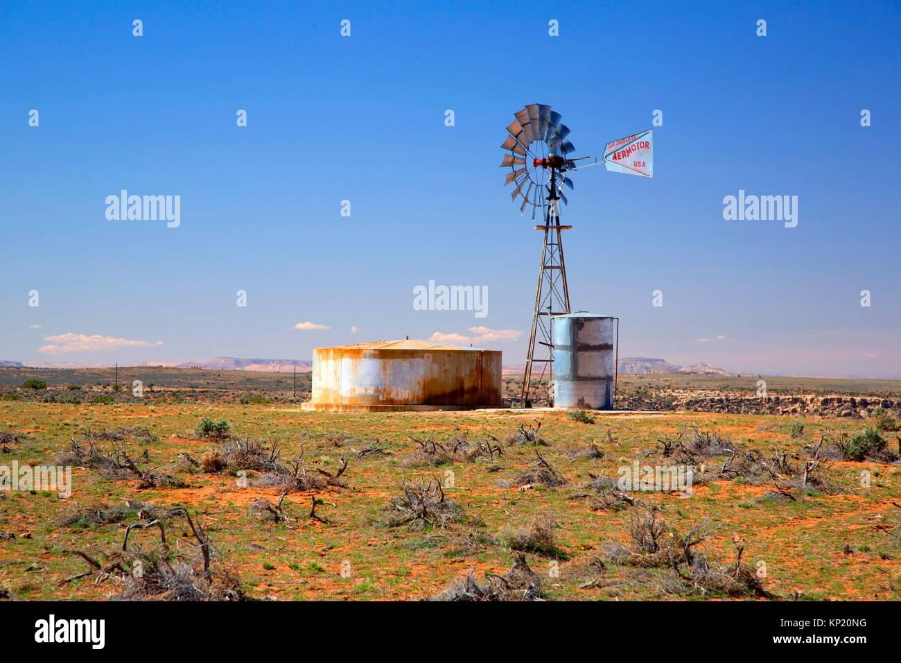 Windmill, Navajo Indian Reservation, Utah. - Stock Image