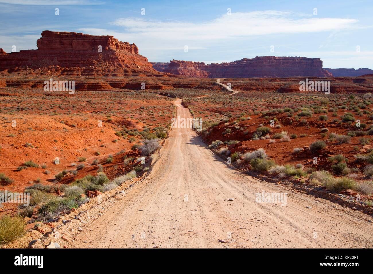 Dirt road, Valley of the Gods, Monticello Field Office Bureau of Land Management, Utah. Stock Photo