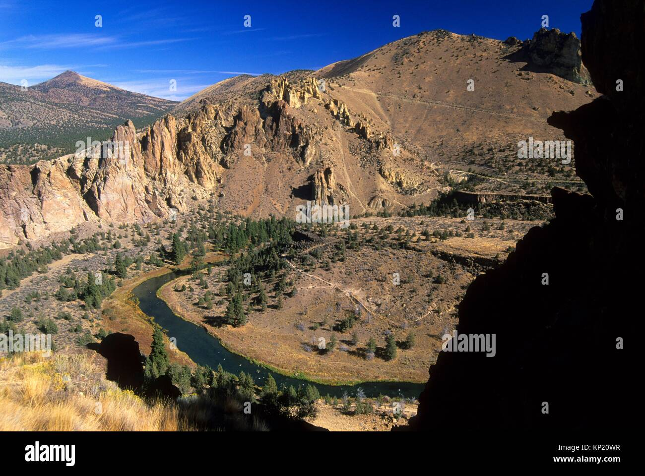 View from Misery Ridge, Smith Rock State Park, Oregon. - Stock Image