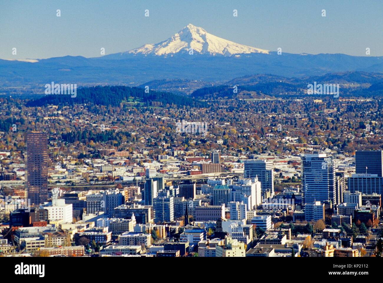 Downtown view with Mt Hood from Pittock Mansion, Portland, Oregon. - Stock Image