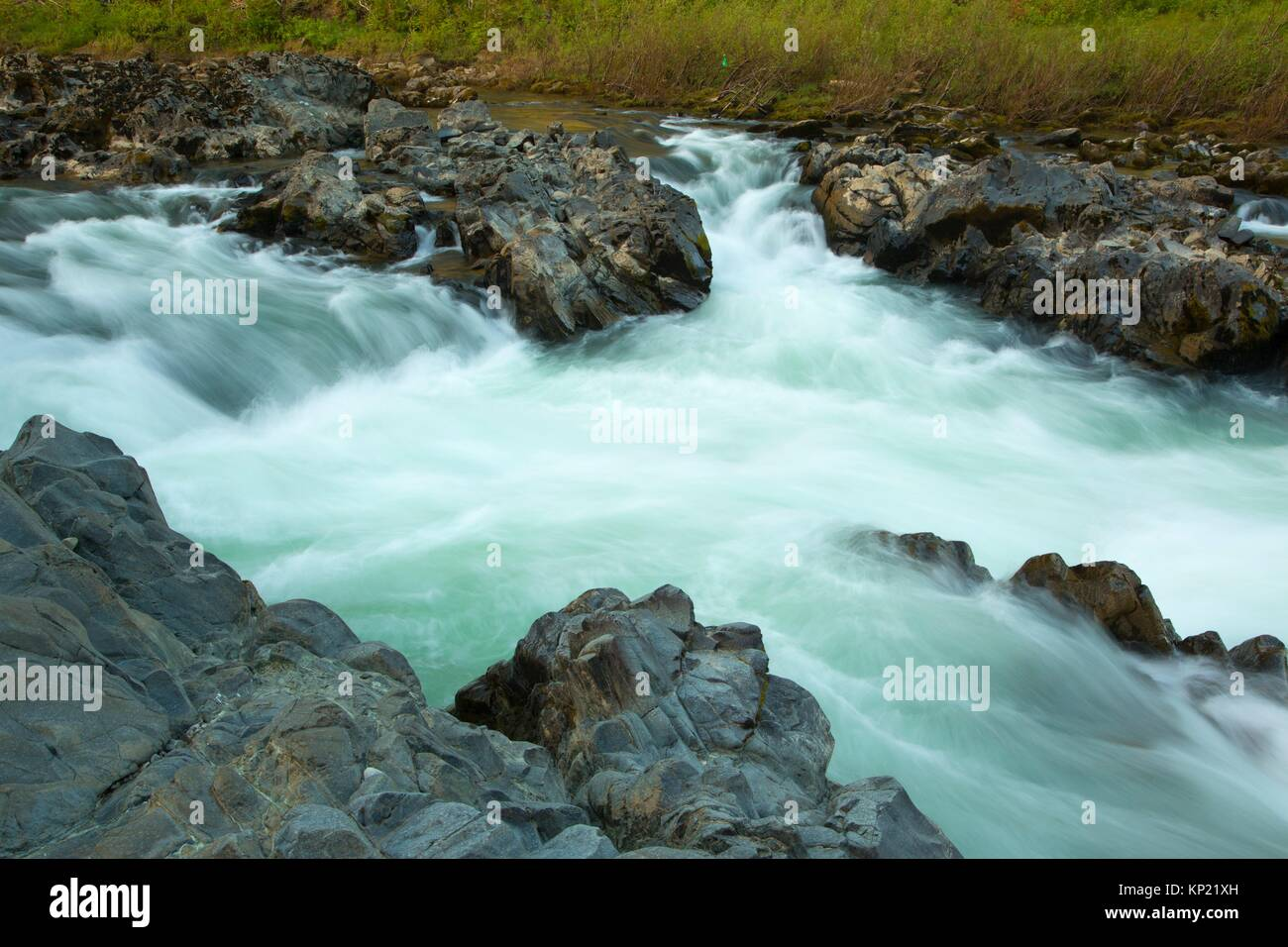 Little Falls along Little Falls Trail, Illinois Wild and Scenic River, Siskiyou National Forest, Oregon. - Stock Image