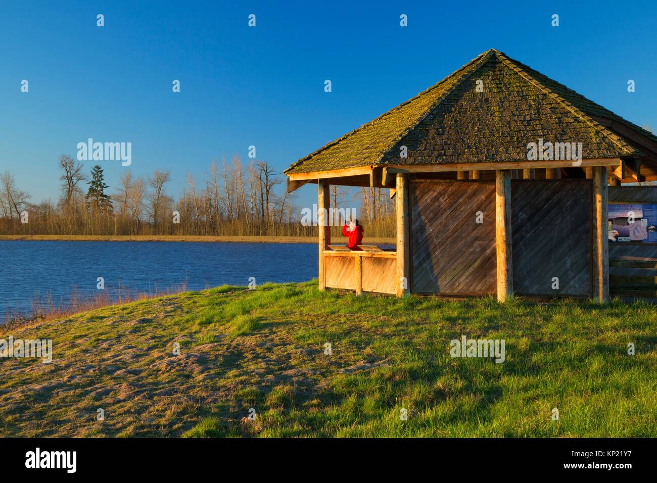 Eagle Marsh observation shelter, Ankeny National Wildlife Refuge, Oregon . - Stock Image