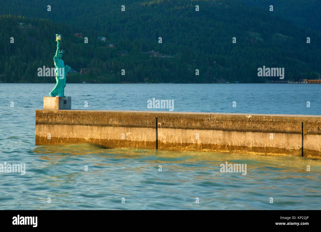 Statue of Liberty replica, City Beach Park, Sandpoint, Idaho. - Stock Image