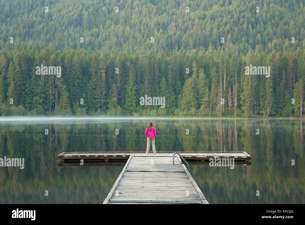 Fishing dock, Round Lake State Park, Idaho. - Stock Image