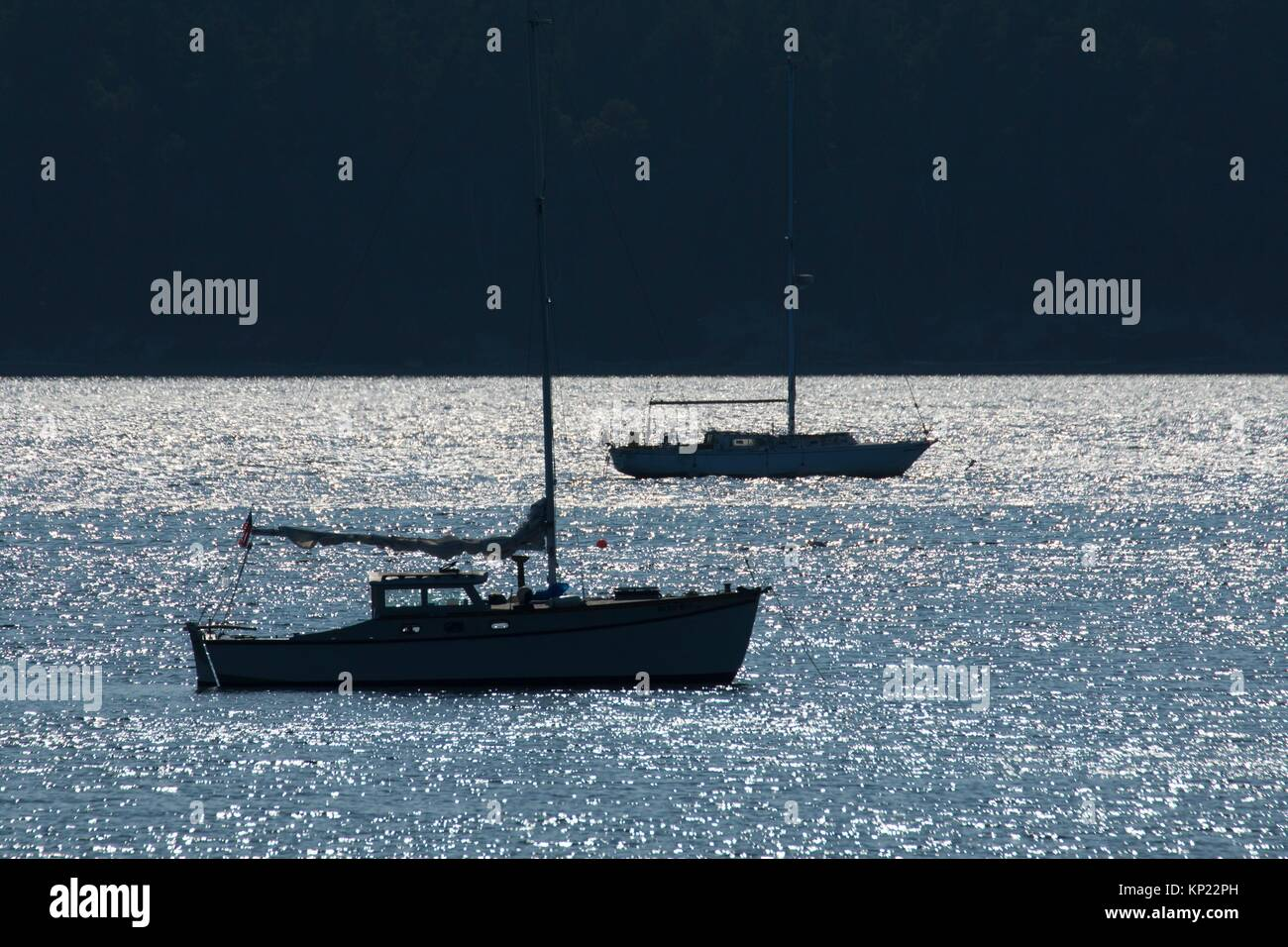 Moored sailboat silhouette, Mystery Bay State Park, Washington. - Stock Image