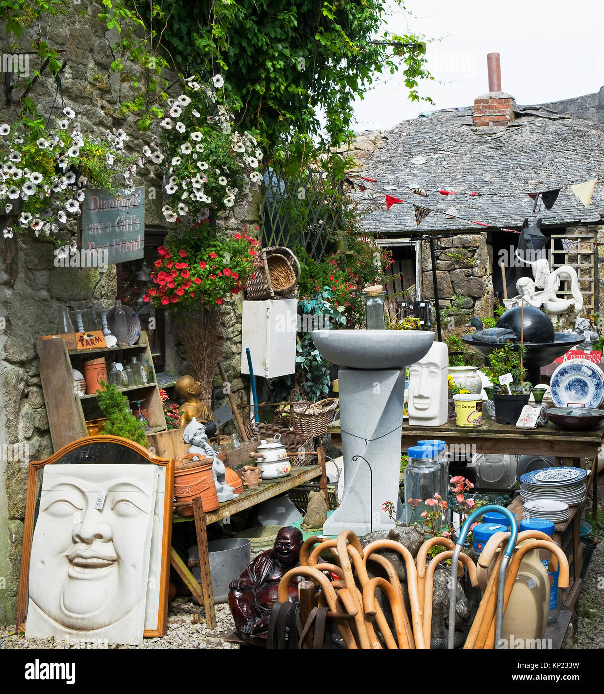 junk shop in st.just, cornwall, england, uk. - Stock Image