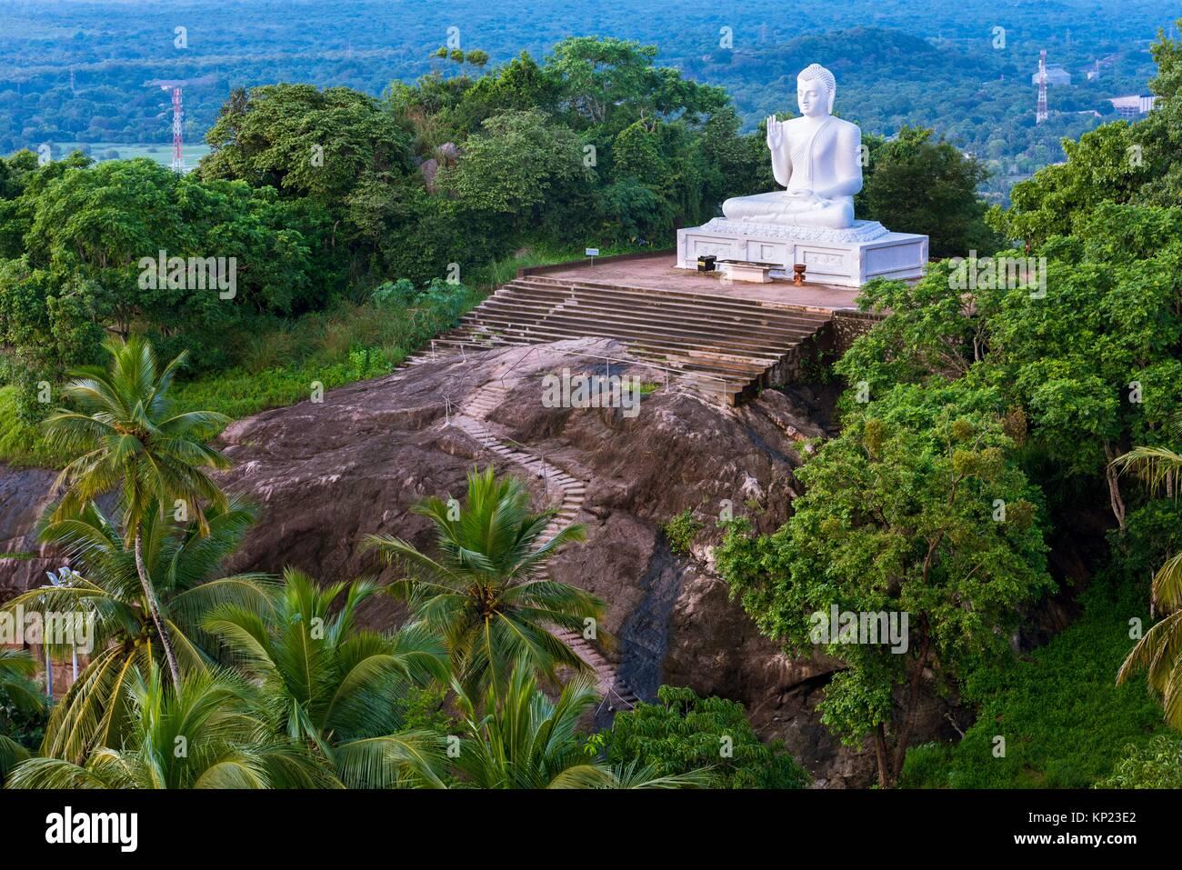 Giant Seated Buddha at Mihintale Monastery, Anuradhapura District, North Central Province, Sri Lanka, Asia. Stock Photo