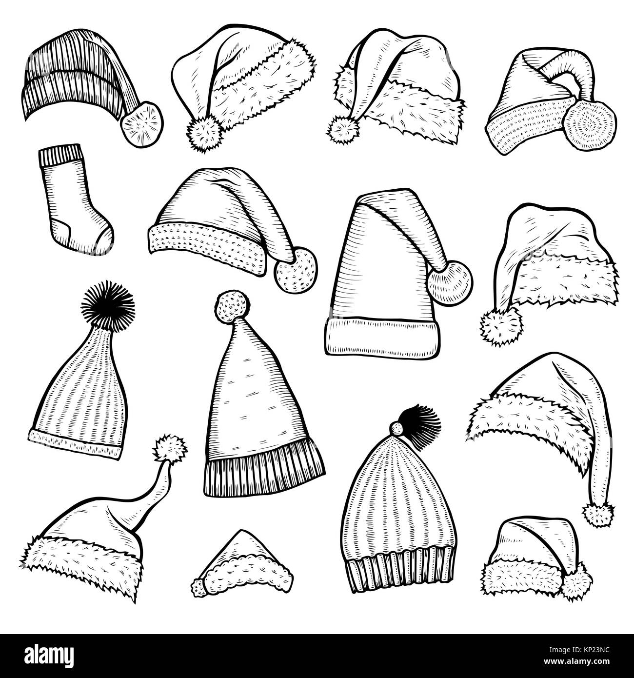 Santa Claus Hat Beard Sock Illustration Drawing Engraving