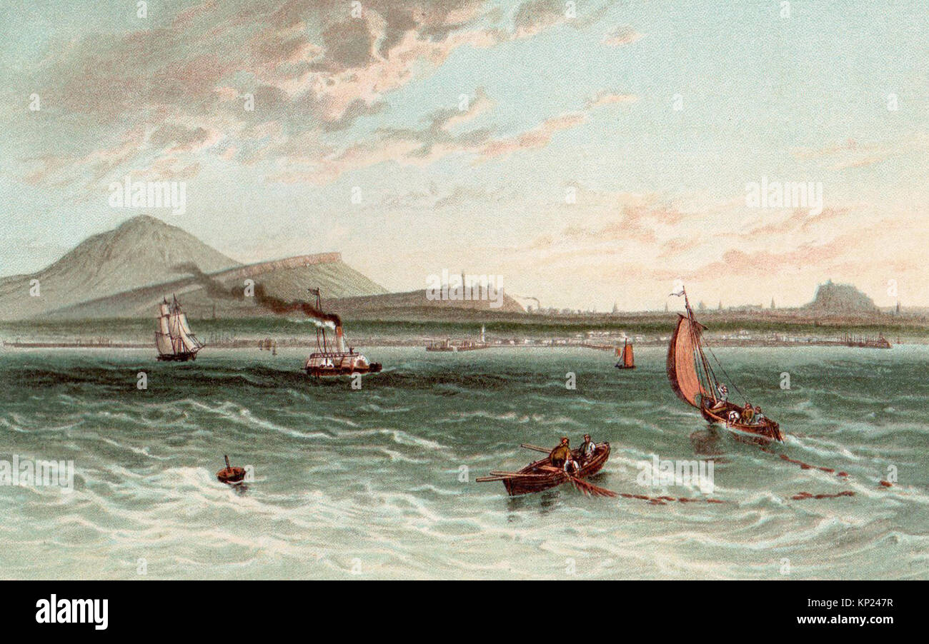 Edinburgh from the Firth of Forth, Victorian illustration - Stock Image