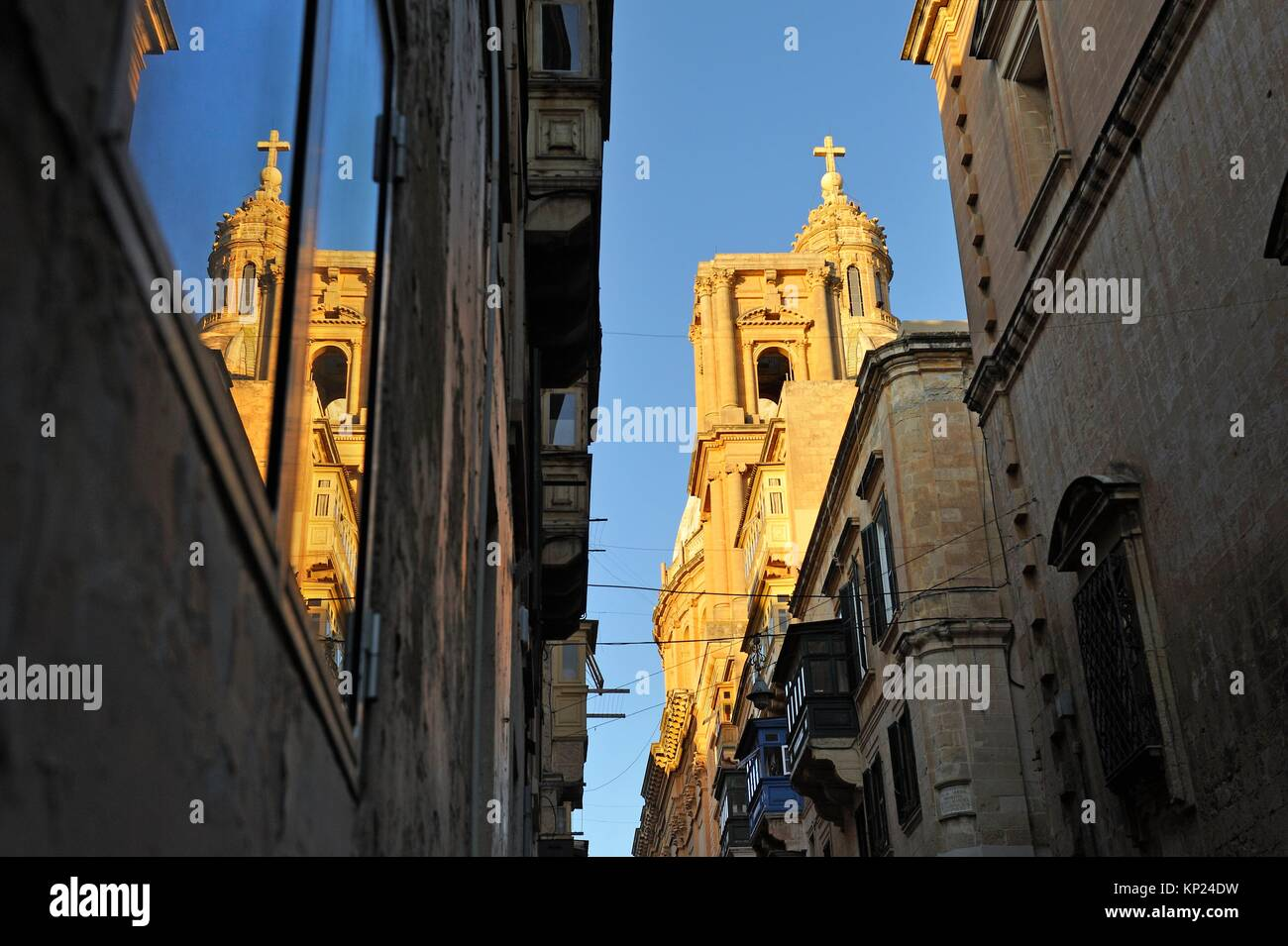 Our Lady of Mount Carmel Church seen from Old Mint Street, Valletta, Malta, Southern Europe. - Stock Image