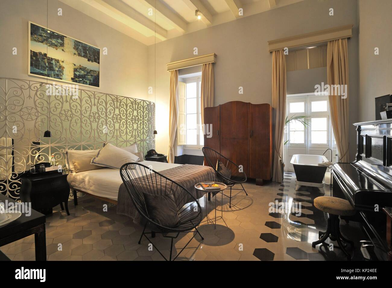 suite of Casa Ellul Hotel, Old Theatre Street, Valletta, Malta, Southern Europe. - Stock Image