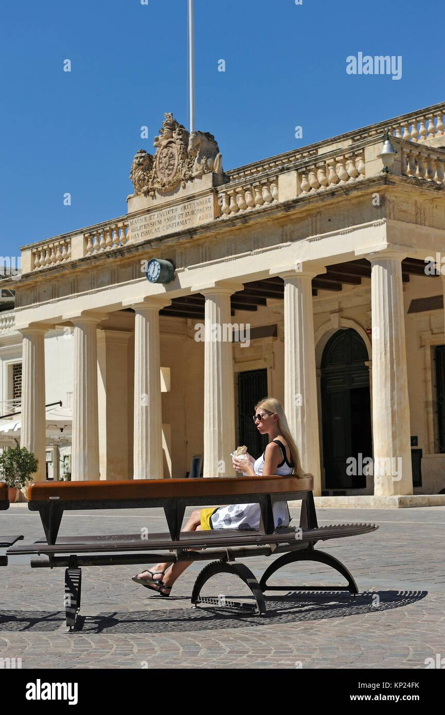 former Main Guard building on St George´s square, Valletta, Malta, Southern Europe. - Stock Image