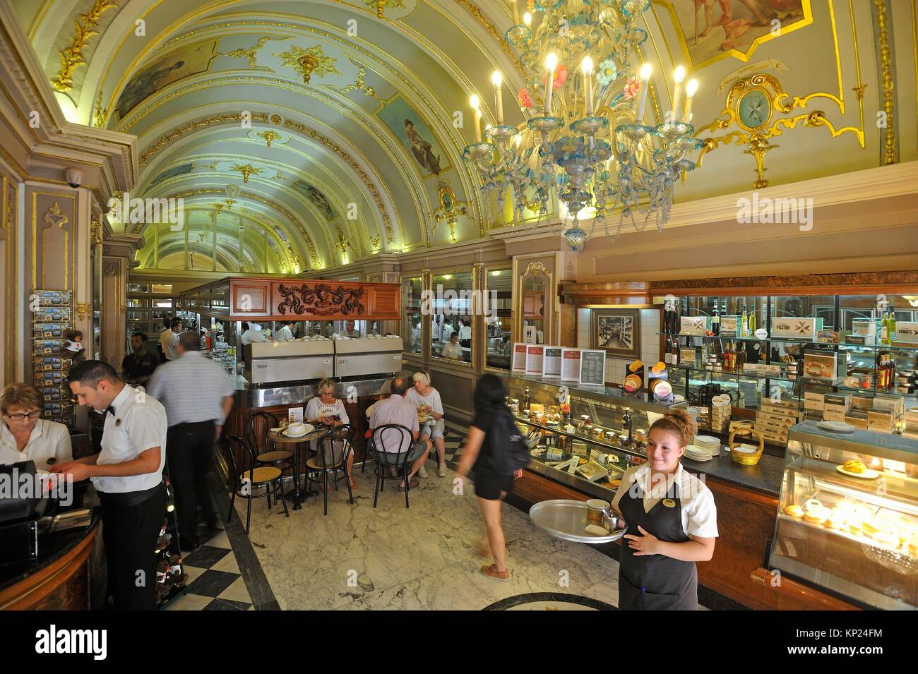 Caffe Cordina, famous cafe restaurant and cake shop, 244 Republic Street, Valletta, Malta, Southern Europe. - Stock Image